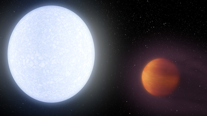 Новая планета раскалена до собственного свечения.