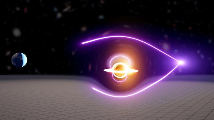 Гравитация чёрной дыры создала два изображения одной вспышки.