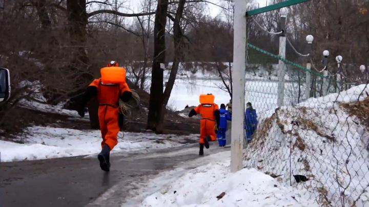 Уфимские спасатели вытащили из полыньи тонущего пса