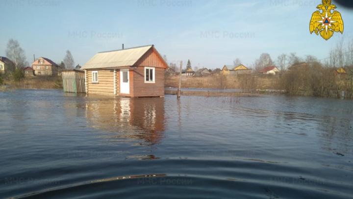 Река Кострома подтопила приусадебные участки в Солигаличе