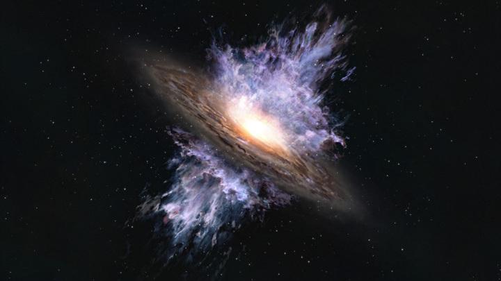 """Так может выглядеть галактический ветер, """"выдуваемый"""" чёрной дырой из центра галактики."""