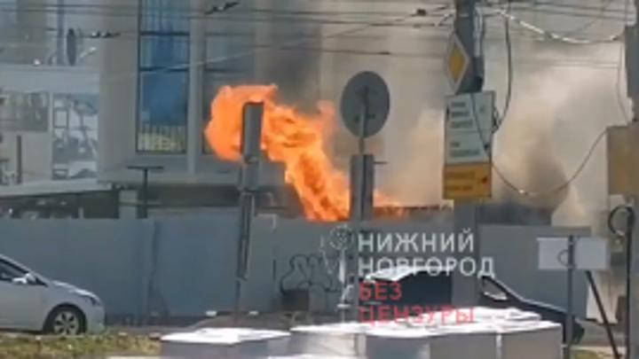 В Нижнем Новгороде загорелся фонтан