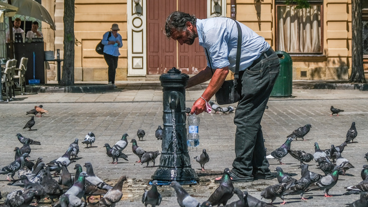 Мужчина набирает питьевую воду в фонтанчике во время аномальной жары в Кракове (Польша) 21 июня 2021 года.