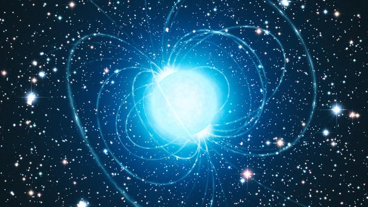 Изображенный художником магнетар из звездного скопления Вестерлунд 1. Этот магнетар — необычный тип нейтронной звезды с чрезвычайно сильным магнитным полем.