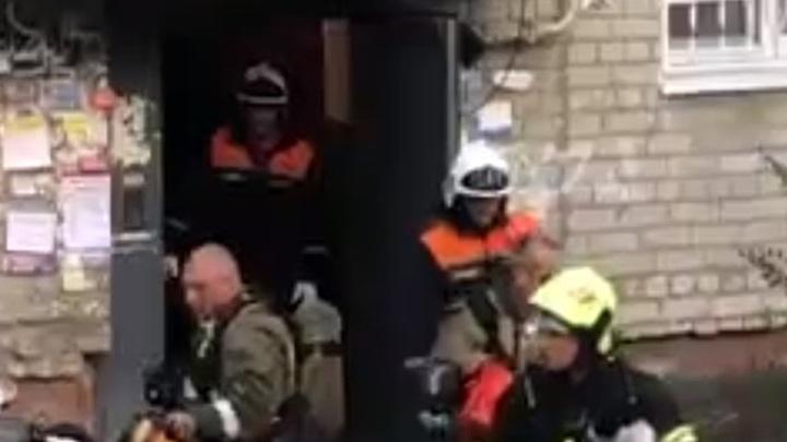 В центре Рязани при пожаре пострадала женщина