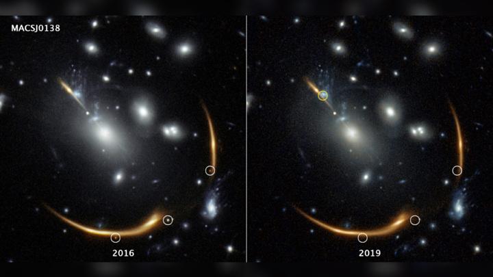 На снимке слева белым выделены три изображения вспышки. На снимке справа в этих местах изображений уже нет. Жёлтым выделена область, в которой новое изображение появится в 2037 году.