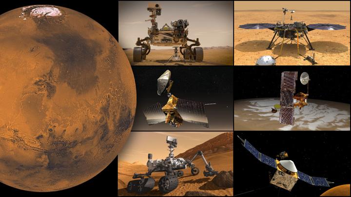 Марсианские миссии НАСА, по часовой стрелке, начиная сверху слева: ровер Perseverance и вертолет Ingenuity, InSight, орбитальные аппараты Odyssey и MAVEN, ровер Curiosity и зонд MRO.