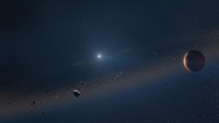 Художник изобразил недавно обнаруженную экзопланету, похожую на Юпитер, вращающуюся вокруг белого карлика (мёртвой звезды).