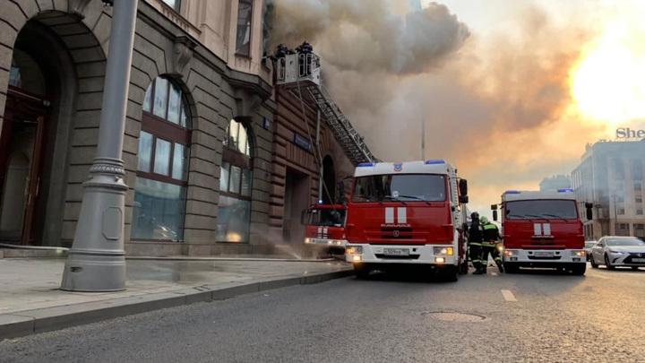 Пожар в историческом здании на Тверской потушен